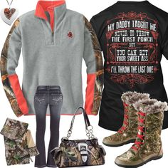 My Daddy Taught Me Camo Trim Pullover Outfit - Real Country Ladies Cute Cowgirl Outfits, Cute Lazy Outfits, Camo Outfits, Western Outfits, Biker Outfits, Western Wear, Country Girl Look, Country Style Outfits, Country Wear