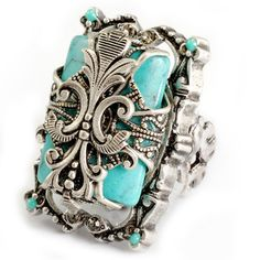 @Overstock.com - Sweet Romance Silvertone Turquoise Magnesite Fleur de Lis Ring - Turquoise-colored magnesite ringSilvertone pewter jewelry Click here for ring sizing guide  http://www.overstock.com/Jewelry-Watches/Sweet-Romance-Silvertone-Turquoise-Magnesite-Fleur-de-Lis-Ring/8478503/product.html?CID=214117 $32.99