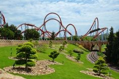 The Dragon Khan coaster at the Port Aventura park in Salou, Spain Salou Spain, Attraction, Big Ride, Roller Coaster Ride, Roller Coasters, Tunnel Of Love, Park Pictures, Balearic Islands, Worldwide Travel