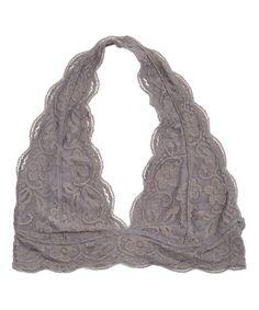 Look at this Gray Lace Scallop-Hem Halter Bralette by r. Halter Neck Bra, Lace Halter Top, Halter Bralette, Bralette Bras, Lacy Lingerie, Lacy Bra, Cute Underwear, Lingerie Underwear, Stitch Fix Outfits