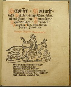 "Scatalogical woodcut illustration accompanying a poem deriding the Roman Catholic polemicist Johannes Nas. Used by Nicolaus Henricus of Oberursel.  Birgit Wiedl notes that the Eselritt (ass-ride), like the Sauritt (sow-ride), ""is the typical feature of a type of pamphlet that is known as Schandbild or Schmähbrief ('defamatory picture/letter') that ... show the person(s) they are directed against as riding backwards; if groups of people are depicted, they might also engage in the 'typical'…"