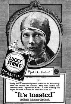 Lucky Strike Cigarettes #Vintage Amelia Earhart #advertising