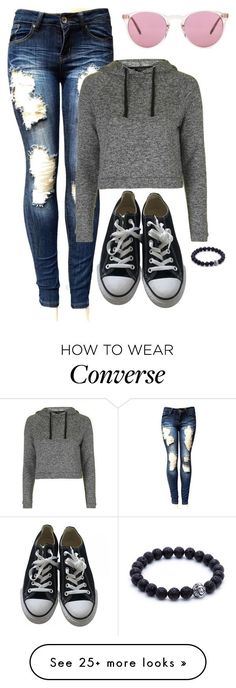 """Untitled #2643"" by misnik on Polyvore featuring Topshop, Converse and Oliver Peoples"