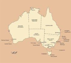 The location of World War I internment camps in Australia