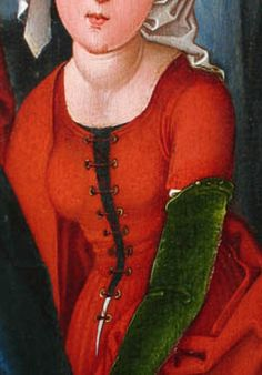 Detail showing a woman's kirtle (gown) with a waist seam and fitted bodice, from the Stark triptych, 1480. National Gallery of Art.