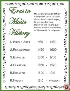 Music History: Music Anchor Chart    |   Eras of Western Art Music  FREE to download!