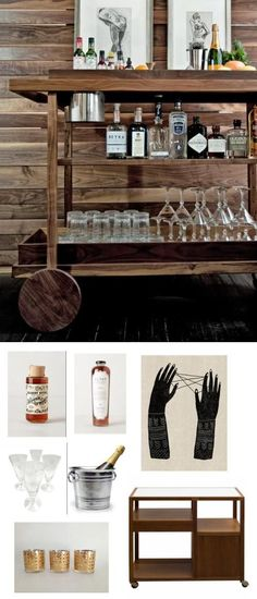 masculine and woodsy bar cart