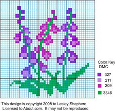 Miniature Cross Stitched or Needlepoint Foxgloves From a Chart: Stitching Chart for a Miniature Foxglove Design