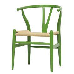 Baxton Studio Mid-Century Modern Wishbone Chair - Green Wood Y Chair. Affordable modern furniture from Baxton Studio