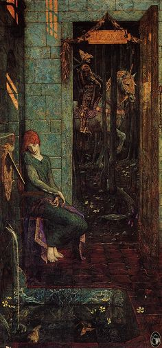 """Edward Burne-Jones, """"Owain Departs From Landine"""" (The historical figure of Owain became incorporated into the Arthurian cycle of legends where he is also known as Ywain, Yvain, Ewain or Uwain. In his legendary guise he is the main character in Chrétien de Troyes's Yvain, the Knight of the Lion and the Welsh Romance Owain, or the Lady of the Fountain, which corresponds to Chrétien's poem.)"""