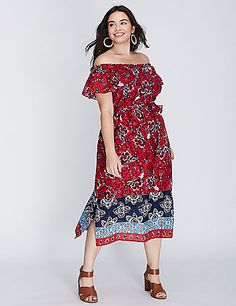 From our Escape Collection. The light and airy fabric pairs perfectly with the off-the-shoulder vibe. Elastic neckline and waist. Lined. Matching self-tie belt. No-closure, pull-over styling. lanebryant.com