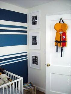 Blue & white striped walls.