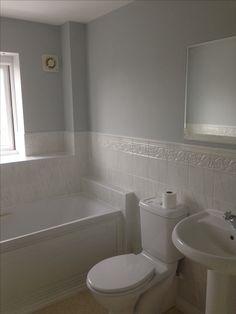 Goose Down dulux to replace a magnolia bathroom. Dulux Kitchen Paint, Dulux Grey Paint, Grey Bathroom Paint, Ikea Bathroom, Boho Bathroom, Bathroom Toilets, Bathroom Design Small, Bathroom Layout, Bathroom Colors