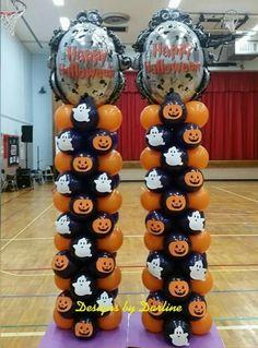 Very nice. Halloween Balloons, Halloween Moon, Happy Halloween, Halloween Party, Balloon Columns, The Balloon, Balloon Decorations, Halloween Decorations, Trunk Or Treat