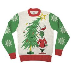 c6f2f91397d8a9 Dr Seuss Grinch As Santa Next To Tree Off-White Ugly Christmas Sweater -  Walmart.com