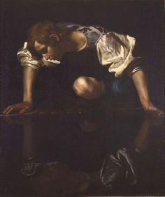 Caravaggio (Michelangelo Merisi) (Milano 1571 - Porto Ercole 1610) Narciso alla fonte 1597-1599 ca. Olio su tela, cm 113x95 Inv. 1569 Provenienza: Donazione Basile Khvoshinski 1916  - See more at: http://galleriabarberini.beniculturali.it/index.php?it/115/caravaggio-narciso#sthash.bajIfH4K.dpuf