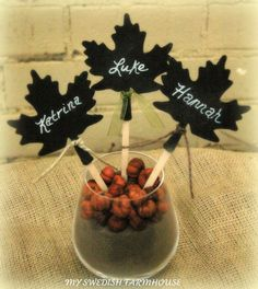 Table Numbers Place Cards Cake Topper Centerpiece 12 Chalkboard Fall Leaves Personalized Rustic Wedding Decor