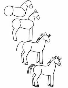 dessin cheval simplifie