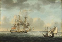 Nicholas Pocock (1740-1821) 'A Royal Navy Fourth-Rate off the south coast' http://www.rountreetryon.com/