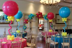 Pink & Turquoise Baby Shower Balloon Centerpieces
