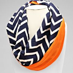 """Navy blue and white chevron with solid orange infinity scarf. 8""""W 60""""L Perfect…"""