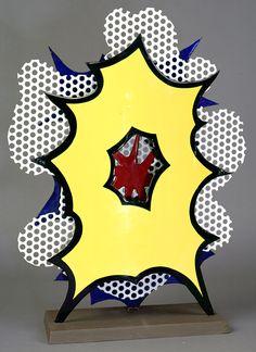 Roy Lichtenstein, Small Explosion (Desk Explosion), 1965, Porcelain enamel on stelle with wooden base, 54 x 40,6 x 15,2 cm © Roy Lichtenstein