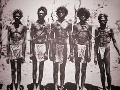 Aboriginal men in chain gang, early after European arrival. Recognition: A belated homage or yet another swindle? (Part 1)