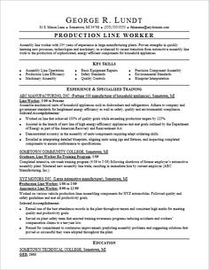 production line resume sample - Assembly Line Resume Sample