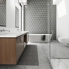 Inhabit's Troika Architectural Concrete Tile in white are nested concrete tiles. Inhabit is your source for environmentally friendly modern furnishings for your home. Contemporary Bathrooms, Modern Bathroom Design, Bathroom Interior Design, Luxury Bathrooms, Master Bathrooms, Black Bathrooms, Marble Bathrooms, Dream Bathrooms, Bathroom Designs