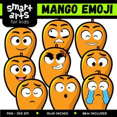 "Mango Emoji Clip Art Check out the BUDGET BUNDLE of this Emoji Clip Arts - Bundle Clip art Link Included in this Product: • 9 Full Colored items • 9 Black and white items • 18 pieces clip art in total • Each clip art saved separately in 1,""x1,"" 3,, dpi PNG files, transparent background *Colors might be slightly different due to different screen color..."