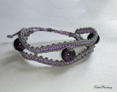 #Puple #bracelet  #silver bracelet  bracelet with #bigbeads by TidalFantasy