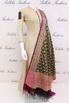 Wear a divine aura dressed in this pristine beige pure soft khadi silk elegant suit featuring beautiful eye catching pure banarasi silk duppata highlighted with nice designs on it.this pure silk outfit with banarasi duppata makes outfit outstanding Best Designer Dresses, Indian Designer Outfits, Indian Outfits, Designer Gowns, Anarkali Dress, Pakistani Dresses, Anarkali Suits, Punjabi Suits, Churidar Designs
