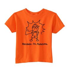 Fab.com | Awesome Boy Tee Orange - I wish this came in Hunter's size!