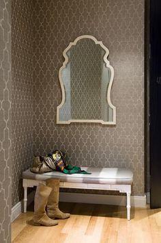 philip jefferies wallpaper, jonathan adler mirror Nice crisp pattern, bold but restful.