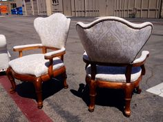 Matching chairs reupholstered w/nailhead detail by Garcia's.