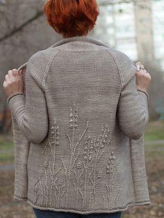 Ravelry: Winter Weeds cardigan pattern by Katya Gorbacheva ~ love this NEW Feb. Aran knit bottom-up, seamless and sized Small to XXL Knitting Stitches, Knitting Designs, Hand Knitting, Loom Knitting, Cardigan Pattern, Knit Cardigan, Knit Sweaters, Knit Or Crochet, Crochet Granny