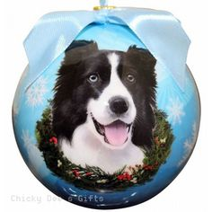 E & S Pets  Border Collie  Shatter Proof Christmas Ball Ornament