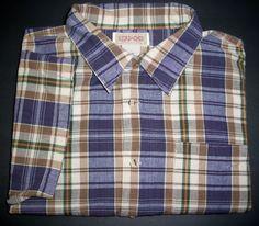 Vintage JORDACHE Mens XL Shirt Blue Tan Plaid Srort Sleeve SS 1970's #Jordache #ButtonFront