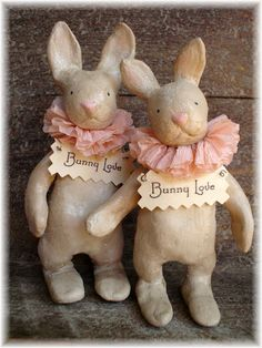 ~ The Feathered Nest ~ paper clay bunnies