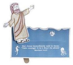 A fun, interactive craft that helps tell the story of when Jesus walked on water in front of His disciples. Move the craft stick along the slit in the cardboard to make Jesus walk on water. Includes preprinted, preslit cardboard bases and Jesus cutouts Bible Story Crafts, Bible School Crafts, Bible Crafts For Kids, Bible Lessons For Kids, Sunday School Crafts, Bible Stories, Kids Bible, Water Crafts Preschool, Preschool Bible