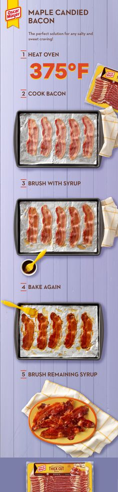 Enjoy the sweet and savory flavor of this Maple-Candied Bacon. Brush maple syrup onto crispy bacon slices for a scrumptious breakfast treat or appetizer. Bacon Recipes, Appetizer Recipes, Chicken Recipes, Dinner Recipes, Cooking Recipes, Healthy Recipes, Appetizers, Breakfast Time, Breakfast Recipes