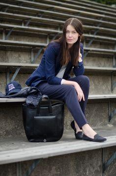 Navy Suit H&M Bag Zara Cap Gina Tricot