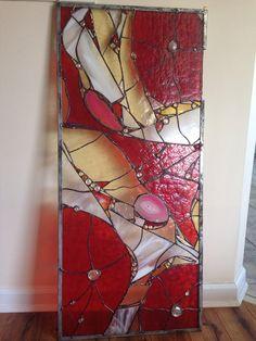 Stained Glass Abstarct Transom Window Suncatcher Panel Valance 35x 20