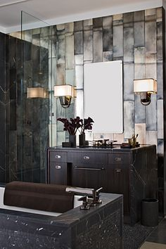 ann sacks tile, great tile - nice simple fixtures