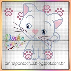 """352 curtidas, 11 comentários - Dinha  ponto cruz (@dinhagraficos) no Instagram: """"#dinhapontocruz #graficobydinha #graficopontocruz #bordadoamao #crossstitch…"""" Cute Cross Stitch, Cross Stitch Animals, Cross Stitch Charts, Cross Stitch Designs, Cross Stitch Patterns, Crochet Patterns, Art Hama, Puppies And Kitties, Yarn Thread"""