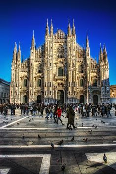 Milan Cathedral (Duomo de Milano) - Italy - Built over 6 centuries beginning in 1386 - French style Rayonnant Gothic & Rennaissance architecture - it sits atop one of the oldest churches in Europe (the Battistero Paleocristiano) built in 335 which can still be visited.