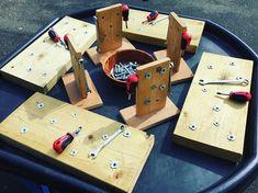 The Montessori boards have been out to play today. #montessori #montessoriboards #finemotor #woodwork #screws #tools #earlyengineering #stem #science #teachersofinstagram #teachersfollowteachers #eyfs #tufftray #grossmotor