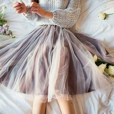 Delicate Brown Knee Length Adult Tulle skirt Delicious chocolate satin with cream tulle overlay. Perfect for spring and summer! Skirts Midi