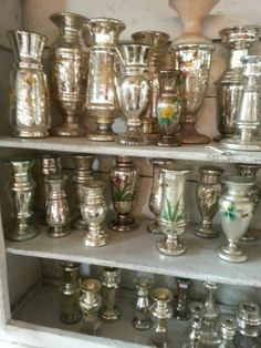 Massive 50 Piece Antique Silver Mercury Glass Collection