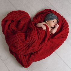 newborn heart blanket